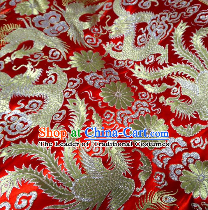 Chinese Traditional Royal Court Phoenix Dragons Pattern Red Brocade Ancient Costume Tang Suit Cheongsam Bourette Fabric Hanfu Material
