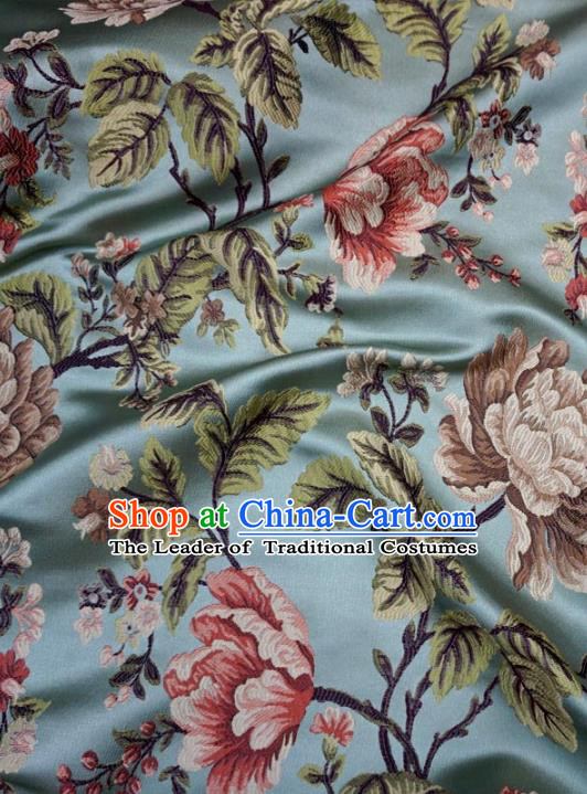 Chinese Traditional Royal Court Peony Pattern Blue Brocade Ancient Costume Tang Suit Cheongsam Bourette Fabric Hanfu Material