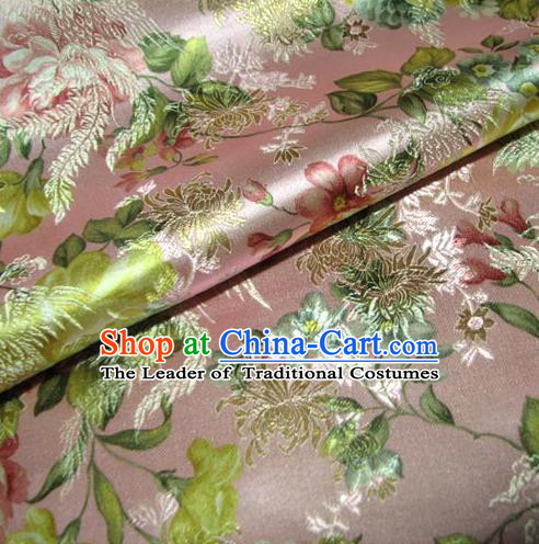 Chinese Traditional Royal Court Peony Pattern Pink Brocade Ancient Costume Tang Suit Cheongsam Bourette Fabric Hanfu Material