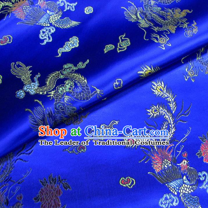 Chinese Traditional Royal Court Dragon Phoenix Pattern Royalblue Brocade Ancient Costume Tang Suit Cheongsam Bourette Fabric Hanfu Material