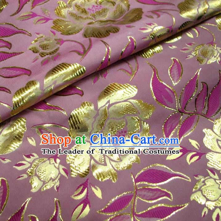 Chinese Traditional Royal Court Peony Pattern Pink Brocade Xiuhe Suit Fabric Ancient Costume Tang Suit Cheongsam Hanfu Material