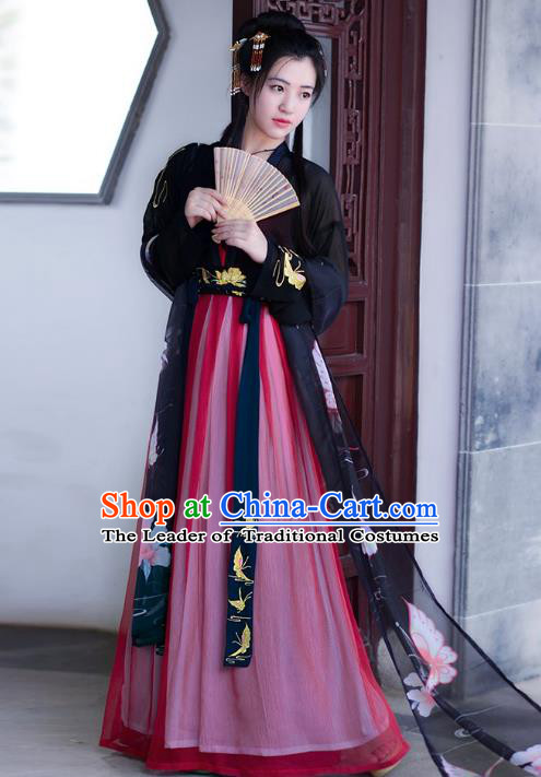 Traditional Chinese Tang Dynasty Palace Lady Princess Hanfu Embroidered Butterfly Costume for Women