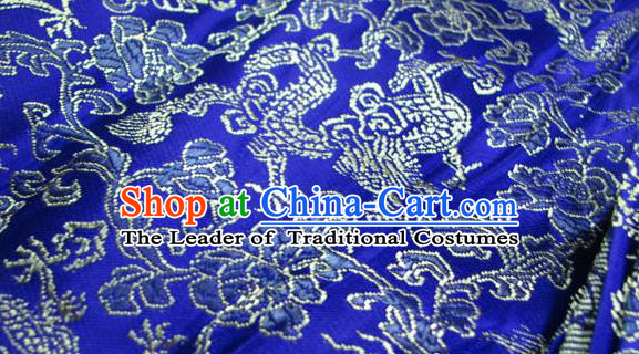 Chinese Traditional Royal Palace Pattern Design Hanfu Royalblue Brocade Fabric Ancient Costume Tang Suit Cheongsam Material