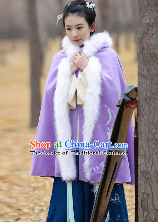 Traditional Chinese Ming Dynasty Young Lady Hanfu Costume Embroidered Purple Wool Short Cloak for Women