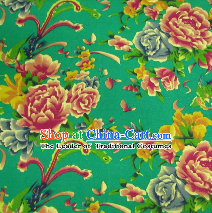 Chinese Traditional Palace Phoenix Peony Pattern Hanfu Green Cotton Fabric Ancient Costume Tang Suit Cheongsam Material