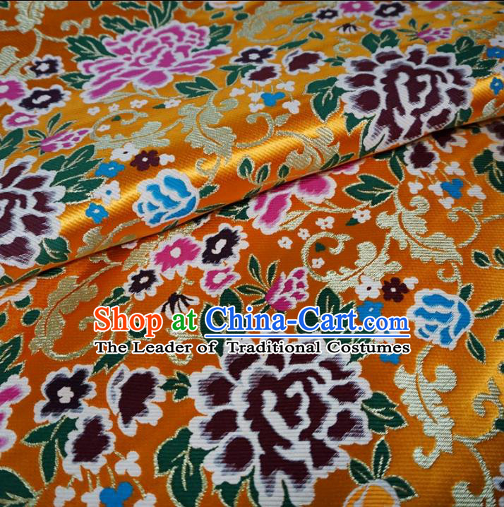 Chinese Traditional Palace Peony Pattern Hanfu Yellow Brocade Fabric Ancient Costume Tang Suit Cheongsam Material