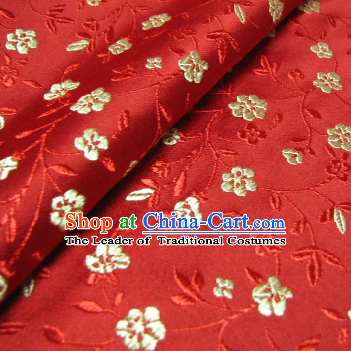 Chinese Traditional Palace Flowers Pattern Design Hanfu Red Brocade Fabric Ancient Costume Tang Suit Cheongsam Material