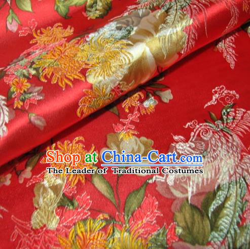 Chinese Traditional Palace Chrysanthemum Pattern Design Hanfu Red Brocade Fabric Ancient Costume Tang Suit Cheongsam Material