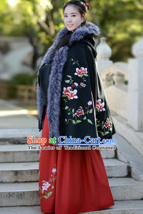 Traditional Chinese Ming Dynasty Palace Lady Princess Hanfu Embroidered Flowers Black Cloak Costume for Women