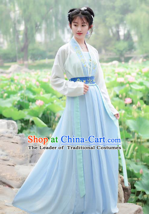 Traditional Chinese Tang Dynasty Palace Princess Hanfu Embroidered Costume for Women