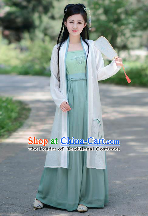 Traditional Chinese Song Dynasty Young Lady Hanfu Embroidered Costume Blouse and Skirts for Women