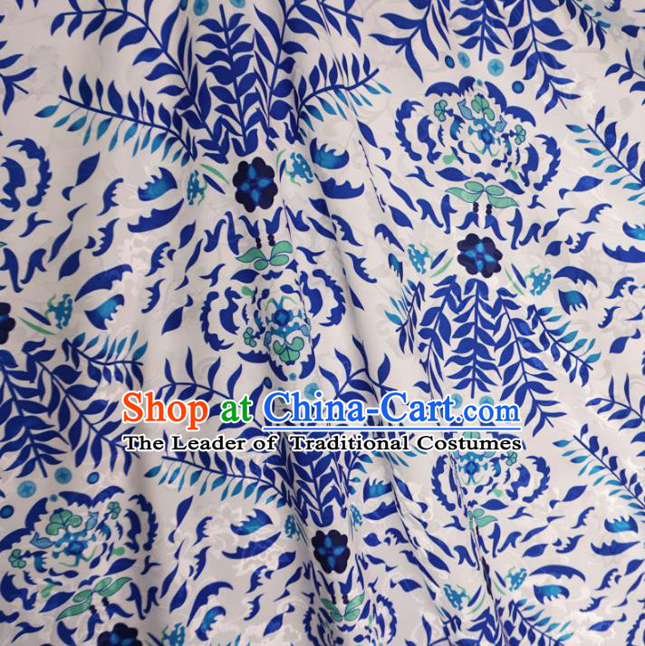 Chinese Traditional Palace Pattern Hanfu White Brocade Fabric Ancient Costume Tang Suit Cheongsam Material