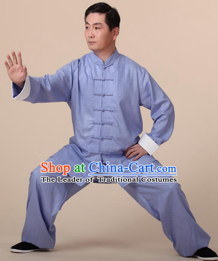 Traditional Chinese Kung Fu Blue Linen Costume, China Martial Arts Uniform Tai Ji Tang Suit Clothing for Men