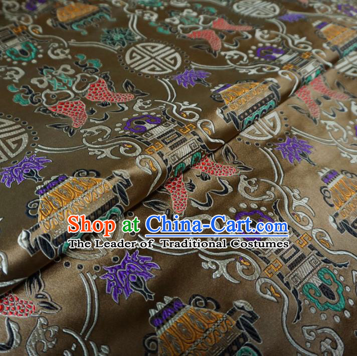 Chinese Traditional Palace Double Fish Pattern Hanfu Brown Brocade Fabric Ancient Costume Tang Suit Cheongsam Material