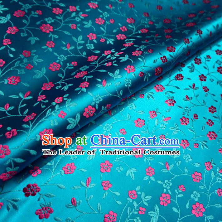 Chinese Traditional Palace Wintersweet Pattern Hanfu Blue Brocade Fabric Ancient Costume Tang Suit Cheongsam Material
