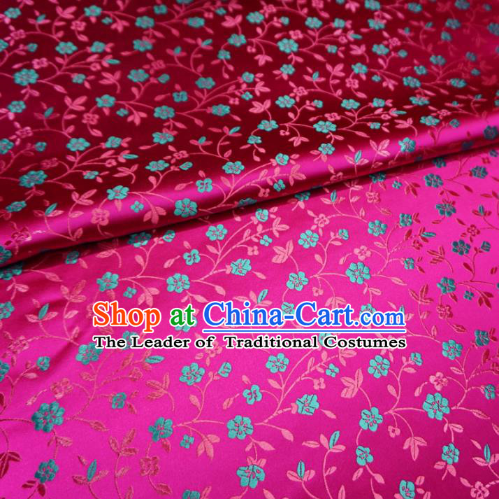 Chinese Traditional Palace Wintersweet Pattern Hanfu Rosy Brocade Fabric Ancient Costume Tang Suit Cheongsam Material