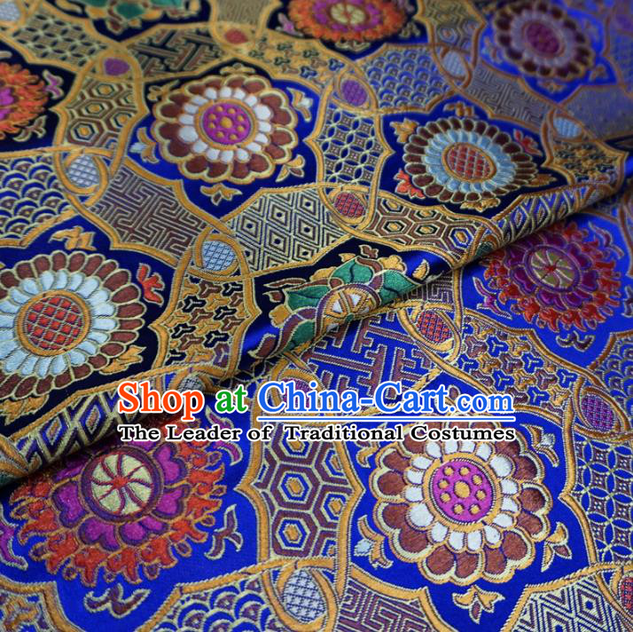 Chinese Traditional Palace Pattern Hanfu Blue Brocade Mongolian Robe Fabric Ancient Costume Tang Suit Cheongsam Material