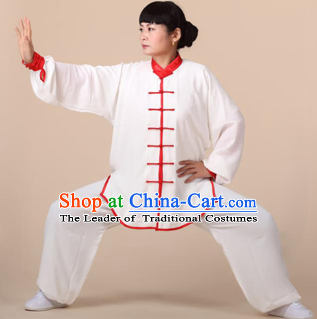 Chinese Kung Fu Linen Plated Buttons Costume, Traditional Martial Arts Tai Ji Uniform for Women for Men