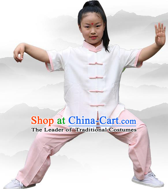 Chinese Kung Fu Linen Short Sleeve Costume, Traditional Martial Arts Tai Ji Uniform for Kids