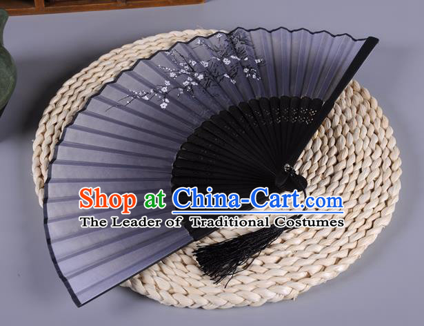 Traditional Chinese Crafts Navy Silk Folding Fan China Oriental Fans for Women
