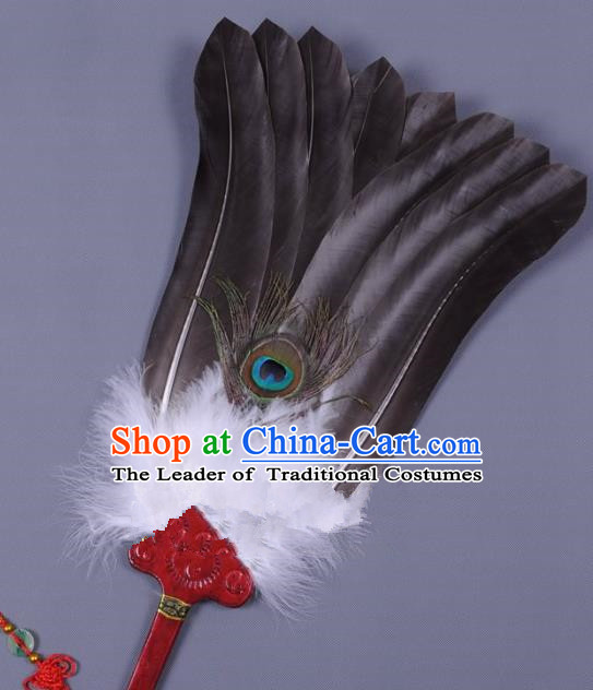 Traditional Chinese Crafts Folding Fan China Black Eagles Feather Fan Oriental Fan Zhuge Liang Fans