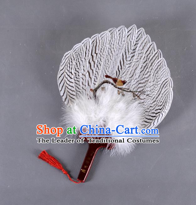 Traditional Chinese Crafts Bird Folding Fan China Eagle Feather Fan Oriental Fan Zhuge Liang Fans