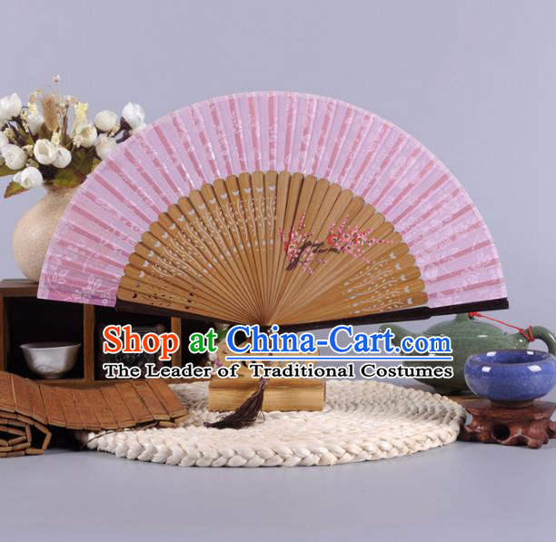 Traditional Chinese Crafts Hand Painted Plum Blossom Pink Silk Folding Fan China Oriental Fans for Women