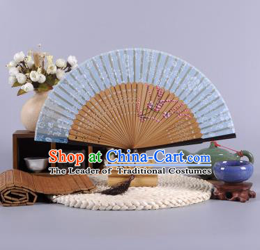 Traditional Chinese Crafts Hand Painted Wintersweet Deep Blue Silk Folding Fan China Oriental Fans for Women