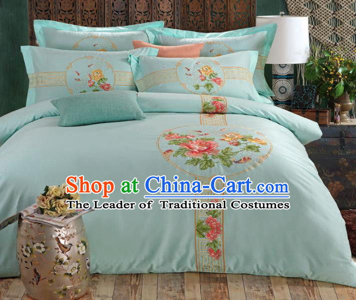 Traditional Chinese Wedding Blue Qulit Cover Embroidered Peony Bedding Sheet Four-piece Duvet Cover Textile Complete Set