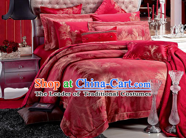 Traditional Asian Chinese Wedding Palace Qulit Cover Bedding Sheet Ten-piece Duvet Cover Textile Complete Set
