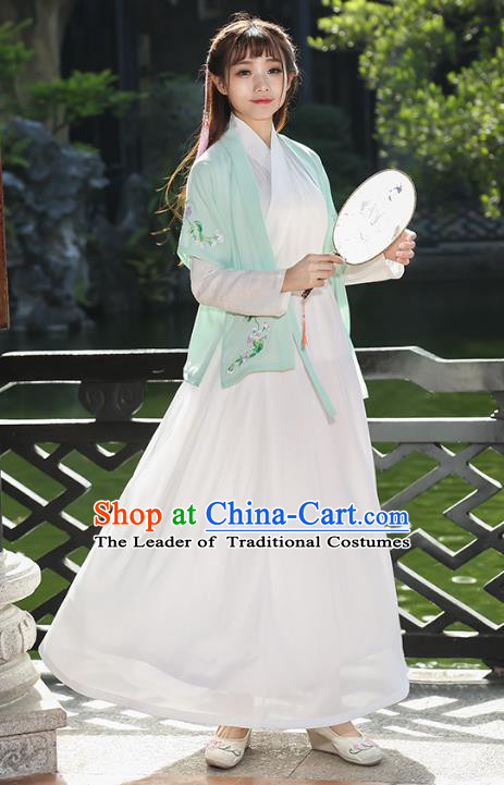 Traditional Chinese Ancient Song Dynasty Young Lady Hanfu Embroidered Costume for Women