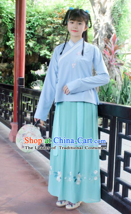 Traditional Chinese Ancient Ming Dynasty Princess Hanfu Costume Embroidered Blue Blouse and Green Skirt for Women