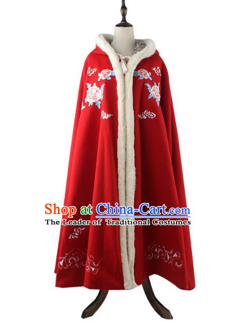 Traditional Chinese Ancient Ming Dynasty Princess Palace Lady Hanfu Costume Embroidered Cloak for Women