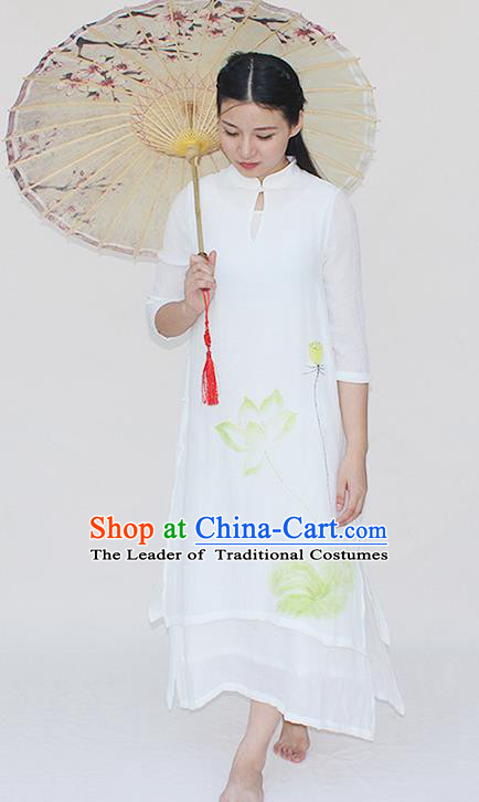 Traditional Chinese National Dress Costume Printing Lotus Qipao Stand Collar Cheongsam for Women
