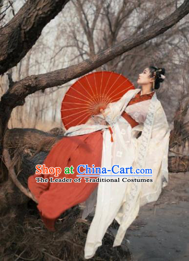 Traditional Chinese Jin Dynasty Palace Princess Hanfu Embroidered Costume for Women