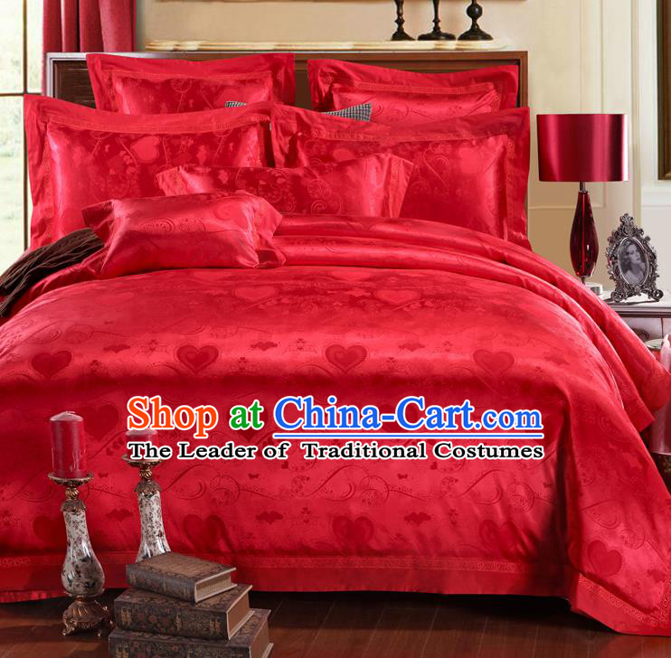 Traditional Chinese Wedding Red Satin Embroidered Four-piece Bedclothes Duvet Cover Textile Qulit Cover Bedding Sheet Complete Set
