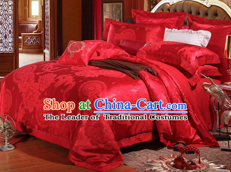 Traditional Chinese Wedding Red Satin Embroidered Phoenix Four-piece Bedclothes Duvet Cover Textile Qulit Cover Bedding Sheet Complete Set