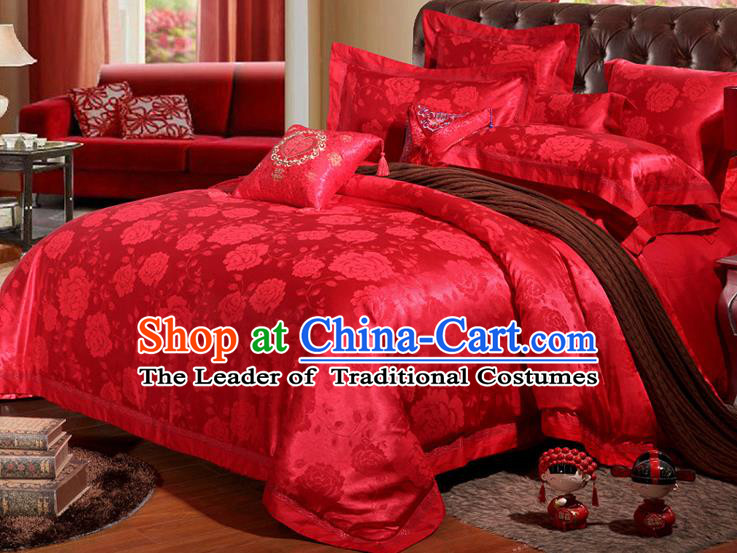 Traditional Chinese Wedding Red Satin Embroidered Peony Four-piece Bedclothes Duvet Cover Textile Qulit Cover Bedding Sheet Complete Set