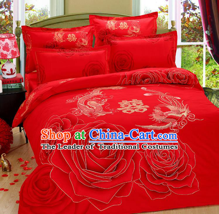 Traditional Chinese Wedding Red Printing Dragon Phoenix Four-piece Bedclothes Duvet Cover Textile Qulit Cover Bedding Sheet Complete Set