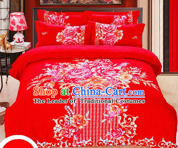 Traditional Chinese Wedding Printing Peony Red Four-piece Bedclothes Duvet Cover Textile Qulit Cover Bedding Sheet Complete Set
