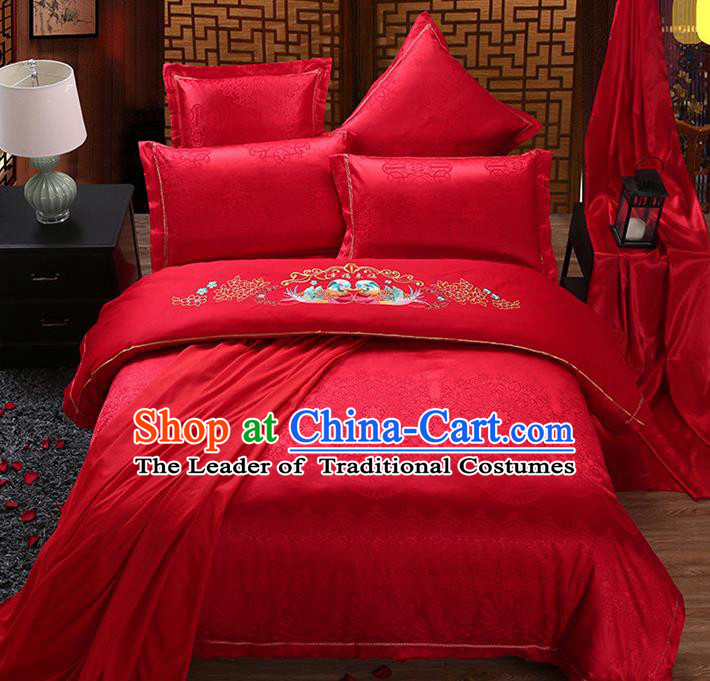 Traditional Chinese Wedding Embroidered Mandarin Duck Red Satin Six-piece Bedclothes Duvet Cover Textile Qulit Cover Bedding Sheet Complete Set
