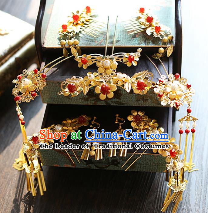 Chinese Traditional Bride Hair Jewelry Accessories Xiuhe Suit Phoenix Coronet Wedding Tassel Headwear for Women