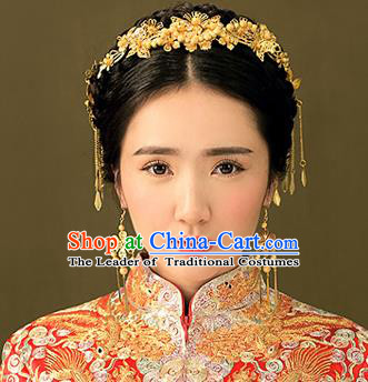 Chinese Traditional Bride Hair Jewelry Accessories Palace Xiuhe Suit Golden Hairpins Wedding Tassel Headwear for Women