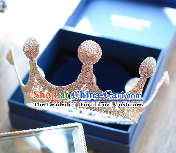 Chinese Traditional Bride Hair Accessories Baroque Queen Hair Clasp Wedding Crystal Round Royal Crown for Women