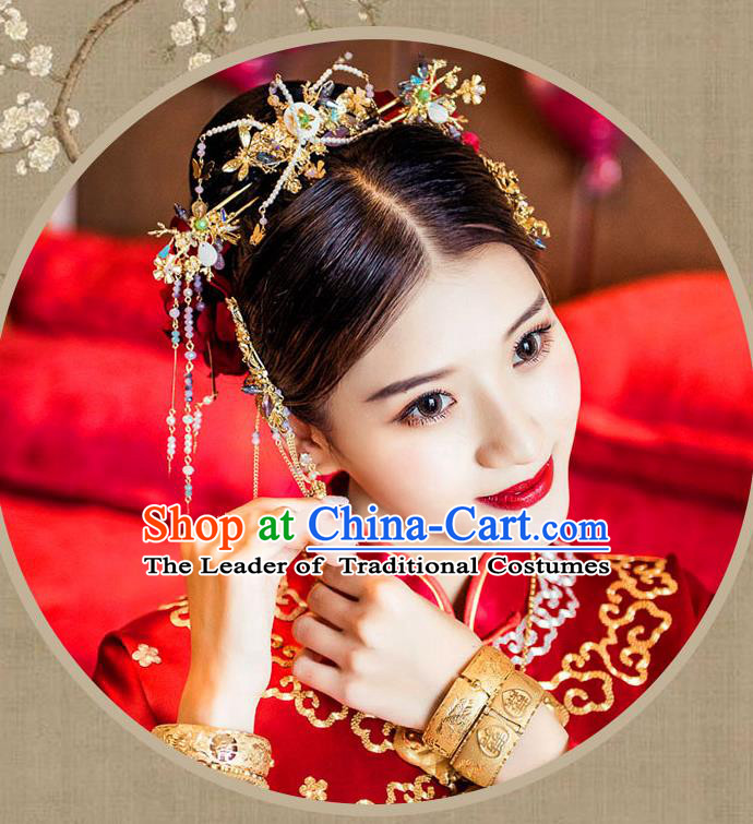 Chinese Traditional Bride Hair Jewelry Accessories Palace Xiuhe Suit Hairpins Wedding Tassel Headwear for Women