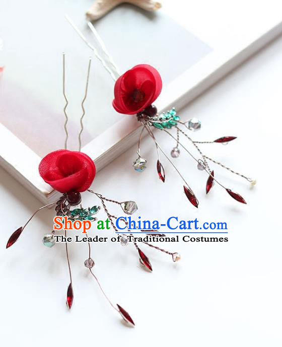 Chinese Traditional Bride Hair Jewelry Accessories Hairpins Wedding Baroque Retro Rose Hair Stick for Women