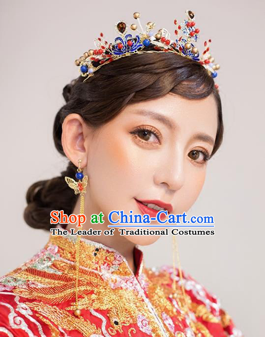 Chinese Traditional Bride Hair Accessories Palace Queen Xiuhe Suit Blueing Royal Crown Wedding Hairpins for Women