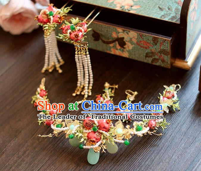 Chinese Traditional Bride Hair Accessories Palace Queen Xiuhe Suit Pomegranate Phoenix Coronet Wedding Hairpins for Women