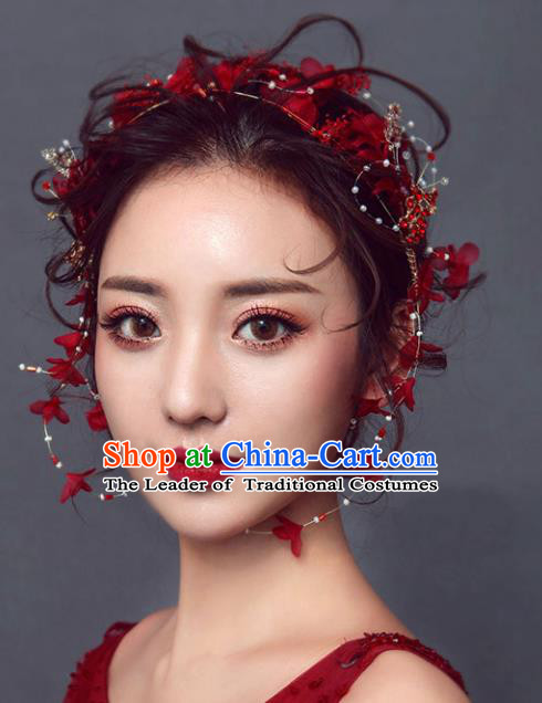 Chinese Traditional Bride Hair Accessories Wedding Red Flowers Hair Clasp for Women