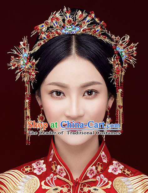 Chinese Traditional Bride Hair Accessories Xiuhe Suit Blueing Lotus Phoenix Coronet Wedding Hairpins Complete Set for Women